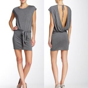Haute Hippie Grey Tie Waist Open Wrap Back Dress L